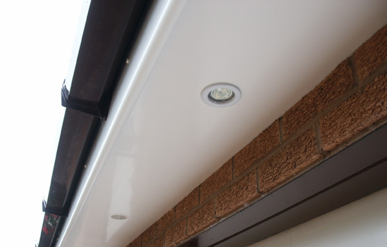 White Upvc Roofline with Downlights