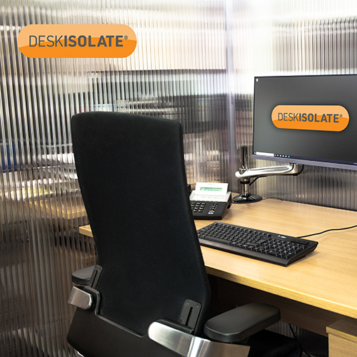 Picture of DeskIsolate 3-Sided Open Back Clear 2400H x 1400W x 1400D mm