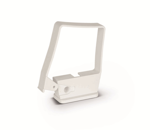 Square Single Fix Downpipe Clip in White